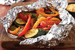 Hearty Tuscan Parmesan Grilled Veggie Foil-Pack