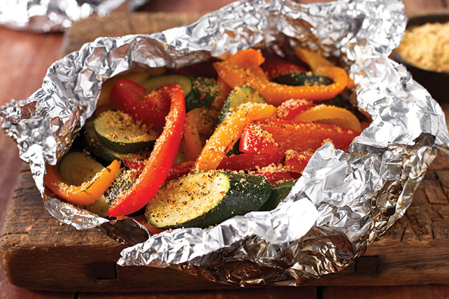 Hearty Tuscan Parmesan Grilled Veggie Foil Pack Kraft