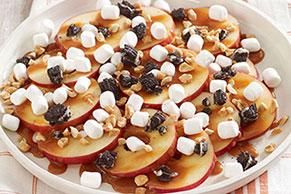 Nachos de manzana y caramelo