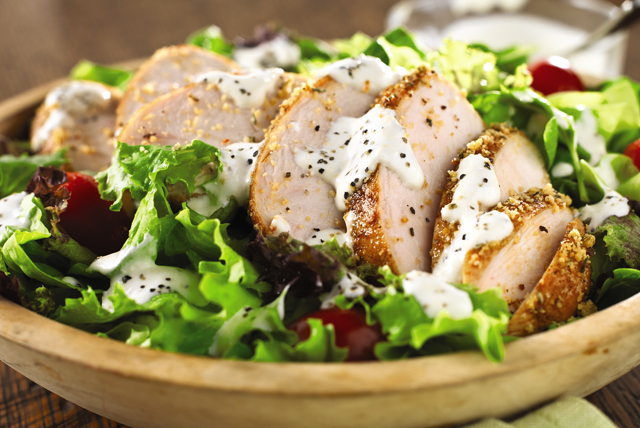 Blackened Chicken Salad with Creamy Black Pepper-Parmesan Dressing Image 1