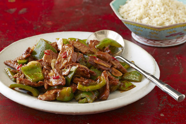 Spicy sichuan double cooked pork peppers recipe kraft canada spicy sichuan double cooked pork peppers forumfinder