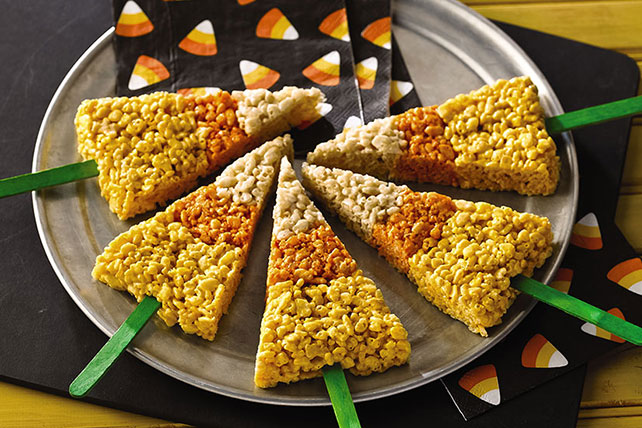 candy corn rice krispies treats on a stick