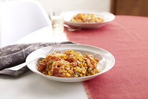 Arroz con camarones y queso preparado con anticipación