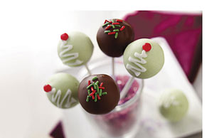 Christmas Tree Cookie Ball Pops