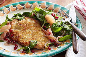 Pork Milanesa with Warm Spinach, Grapefruit & Pomegranate Salad