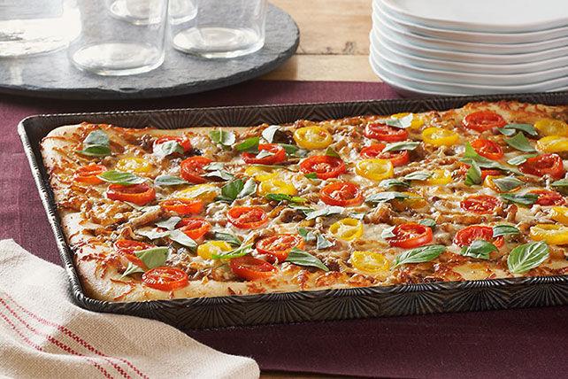 Pizza aux tomates et aux oignons caramélisés Image 1