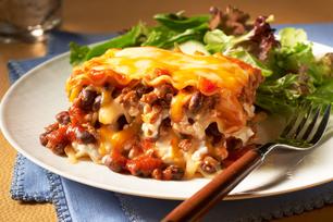 Lasagne au fromage et au chili cuisinée d'avance