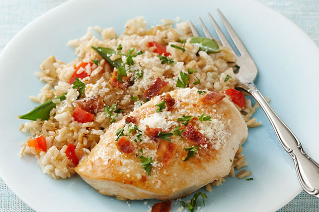 Pilaf de arroz integral con pollo