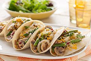 Tacos de ejotes y champiñones