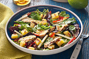 Grilled Chicken & Pineapple Salad with Pineapple-Serrano Dressing