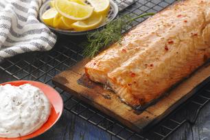 Cedar Plank Salmon with Dill Sauce
