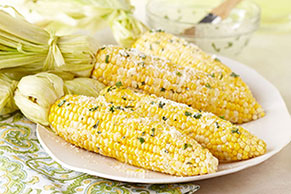 Fresh Corn with Lemon-Basil Parmesan Butter