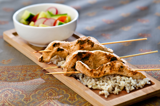 Chicken Satays on Rice with Cucumber Salad Image 1