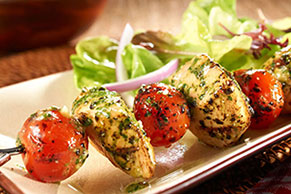 Chicken-Pesto Skewers