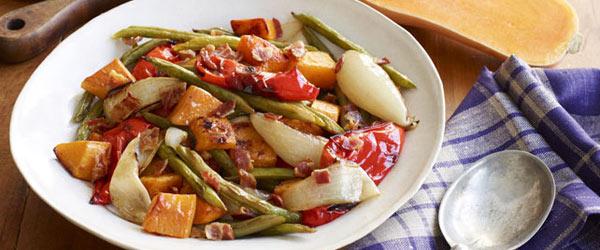 Légumes et courge musquée rôtis