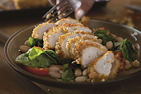 Italian Parmesan Chicken with Tuscan Spinach Salad