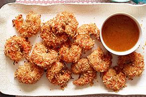Camarones con coco y salsa dulce picante
