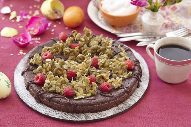 Flourless Chocolate Cake with Pepita Crunch Image 1