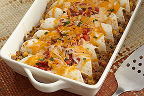 Chipotle Cheddar-Beef Enchiladas
