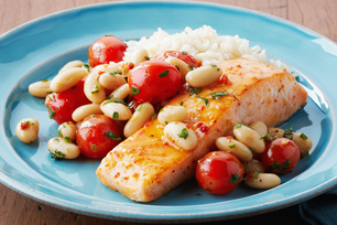 Roast Salmon with Bean & Tomato Salad
