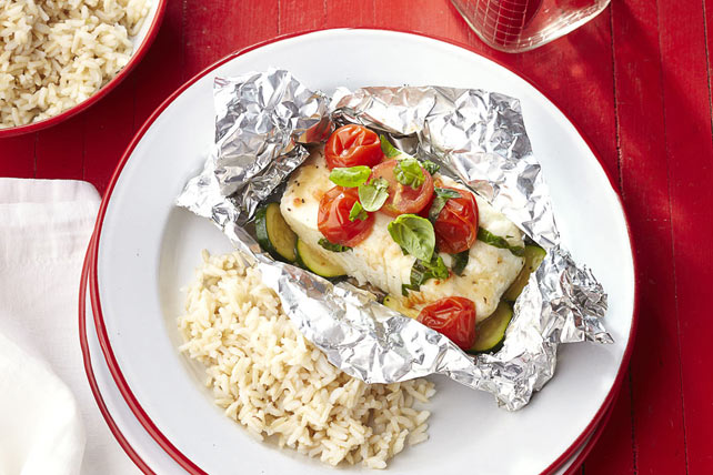"""Take 5"" Grilled Fish Packets with Rice"