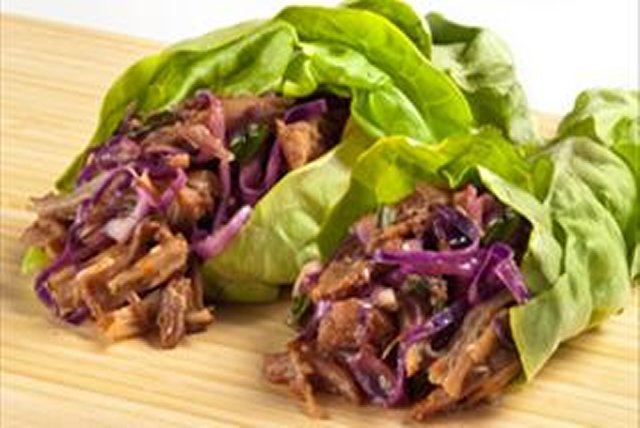Asian-Style Pulled Pork Lettuce Wraps Image 1
