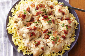 Slow-Cooker Smothered Chicken with Bacon & Onions