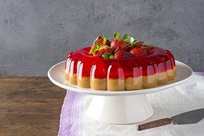 Postre de gelatina de fresa y dulce de leche