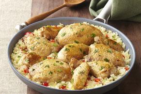 Sartén de arroz con pollo a la margarita