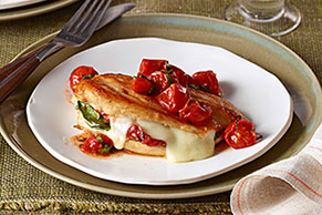 Mozzarella-Basil Chicken with Roasted Tomatoes