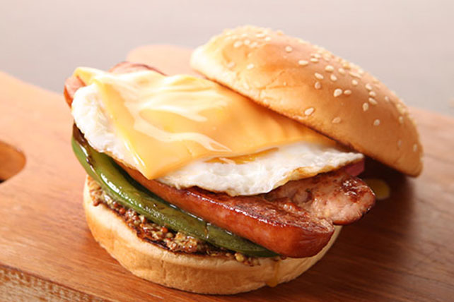 Cheesy Egg & Sausage Stack Image 1