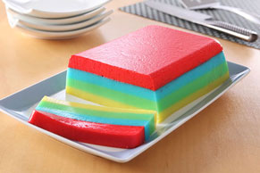 Rainbow JELL-O Dessert Slices