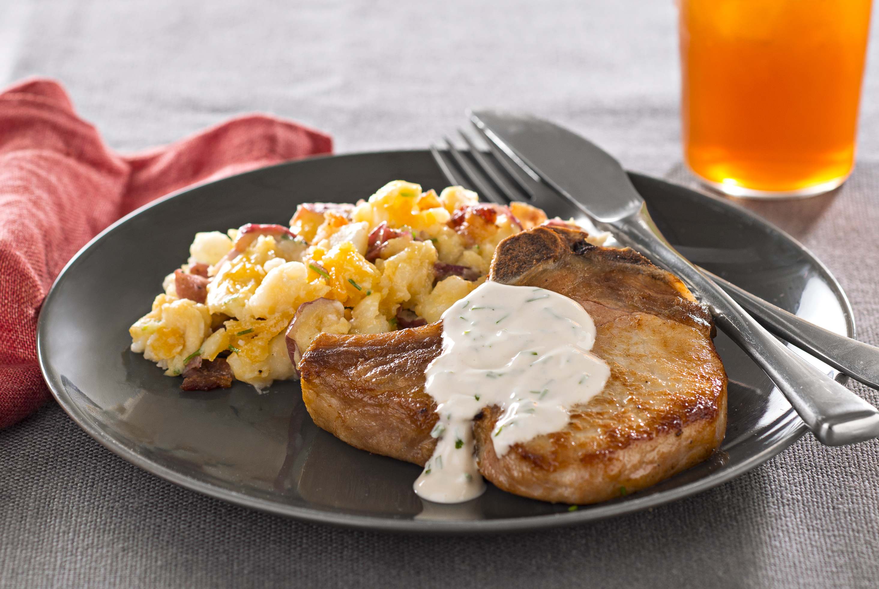 Pork Chops with Fully Loaded Smashed Potatoes Image 1