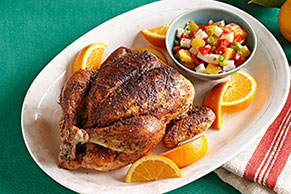 Orange-Chile Roasted Chicken with Orange-Jicama Salsa