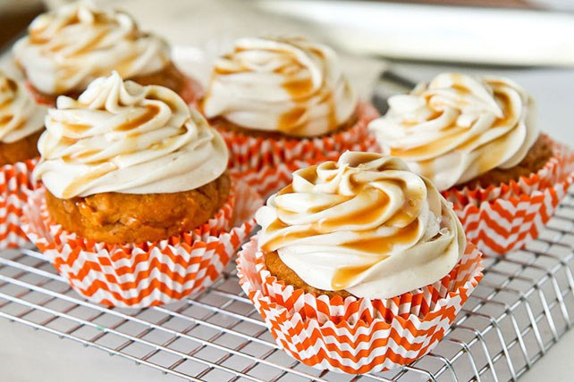 Caramel Pumpkin Cupcakes with Caramel Cinnamon Cream Cheese Frosting Image 1