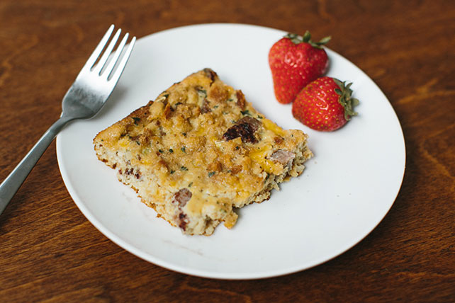 Cheesy Egg & Sausage Stuffing Bake Image 1