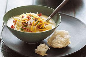 Easy Bacon & Cheese Potato Soup with Sour Cream