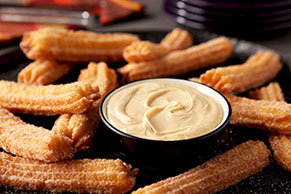 Churros with White Chocolate-Peanut Butter Dip