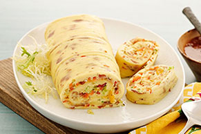 Ham & Cheese Omelet Roll with Cheese Sauce