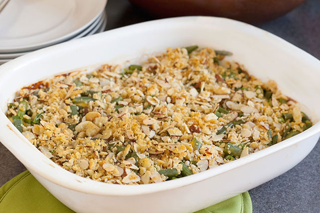Cheesy Green Bean Casserole with Almond Topping Image 1