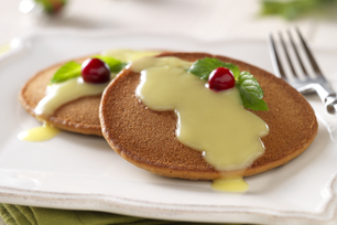 Gingerbread Pancakes with Warm Custard Sauce