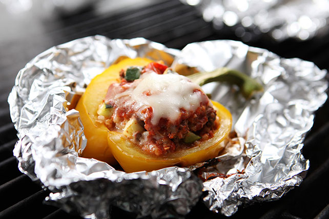 Cheesy Ground Beef & Zucchini Stuffed Peppers Image 1