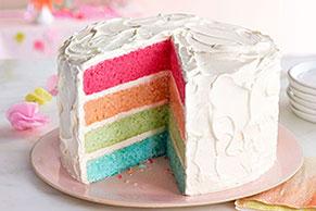 Pastel arcoíris en capas