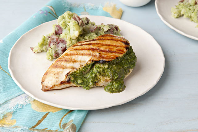 """Spinach Pesto""-Stuffed Chicken & Smashed Potatoes Image 1"