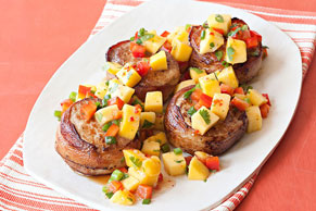 Bacon-Wrapped Pork with Mango Salsa Image 1