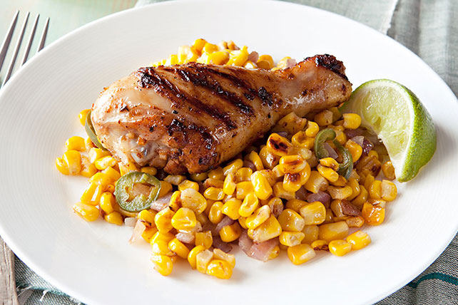 Grilled Chicken Legs with Roasted Corn Packets