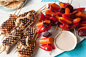 Grilled Chicken & Veggie Kabobs with Pitas