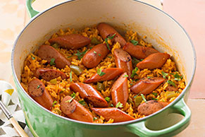 Achiote Rice with Hot Dogs