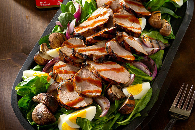 Grilled Pork & Spinach Salad