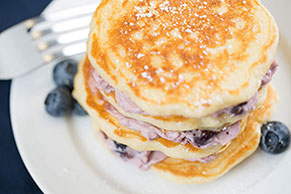 Pancakes with Blueberry Cream Cheese Spread